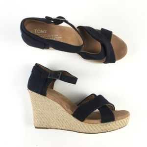 Toms Black Cork Wedges E9515941